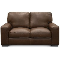 U291-005/10YR/LV Classic Contemporary Brown Leather Loveseat - Luciano