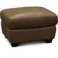 U924-010/10YN/OT Casual Traditional Tan Leather Storage Ottoman - Claudio