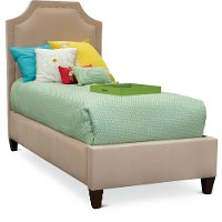 Blush Pink Velvet Upholstered Twin Bed - Modern