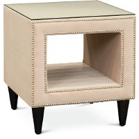 Blush Pink Velvet Upholstered Nightstand with Glass Top - Modern