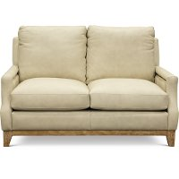 Casual Contemporary Beige Leather Loveseat - Calais