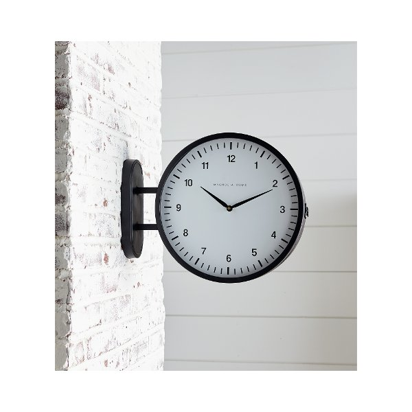 ... Magnolia Home Furniture Black Metal 2 Sided Wall Clock