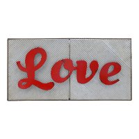 Gray and Red Metal Love Wall Sign