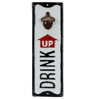 White, Black and Red Metal Drink Up Bottle Opener Wall Sign