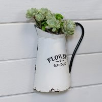 White and Black Flowers and Garden Metal Wall Planter