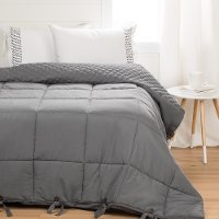 100247 Gray Quilted Full Comforter with Pillow Shams - Lodge