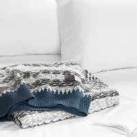 100251 Blue and Gray Cable-Knit Throw Blanket - Lodge