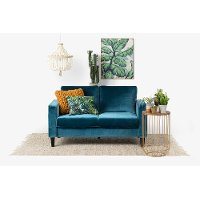 100306 Velvet Blue Loveseat - Live-it Cozy