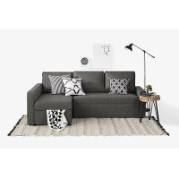100307 Charcoal Gray Chaise Sofa Bed - Live-it Cozy