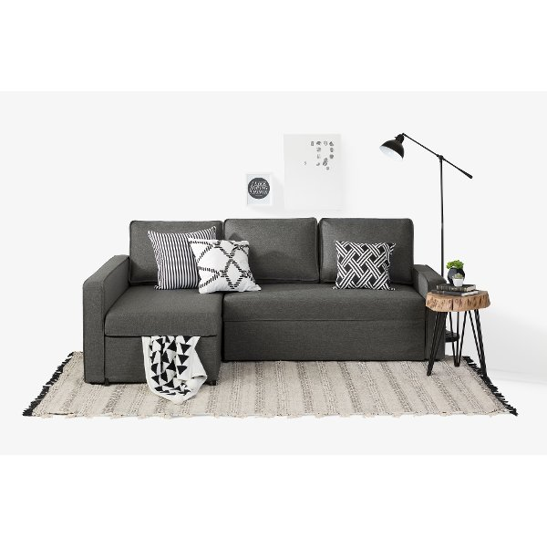 100307 Charcoal Gray Chaise Sofa Bed Live It Cozy