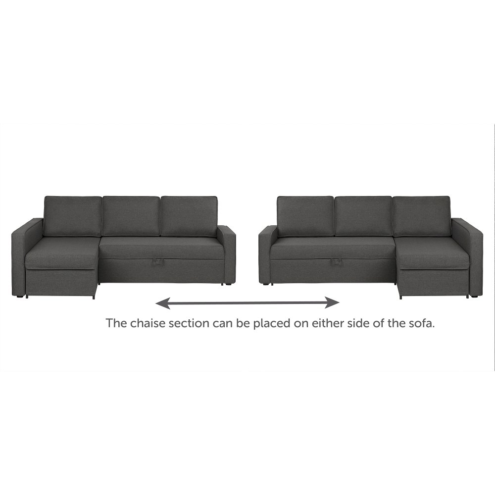 Charcoal Gray Chaise Sofa Bed - Live-it Cozy   RC Willey Furniture Store