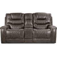 Charcoal Gray Power Loveseat - Desert