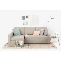 100309 Oatmeal Beige Chaise Sofa Bed - Live-it Cozy