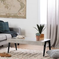 11417 Concrete Gray and Black Coffee Table - City Life