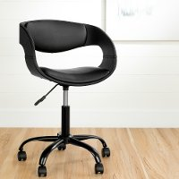 100282 Black Faux Leather Adjustable Office Chair - Annexe