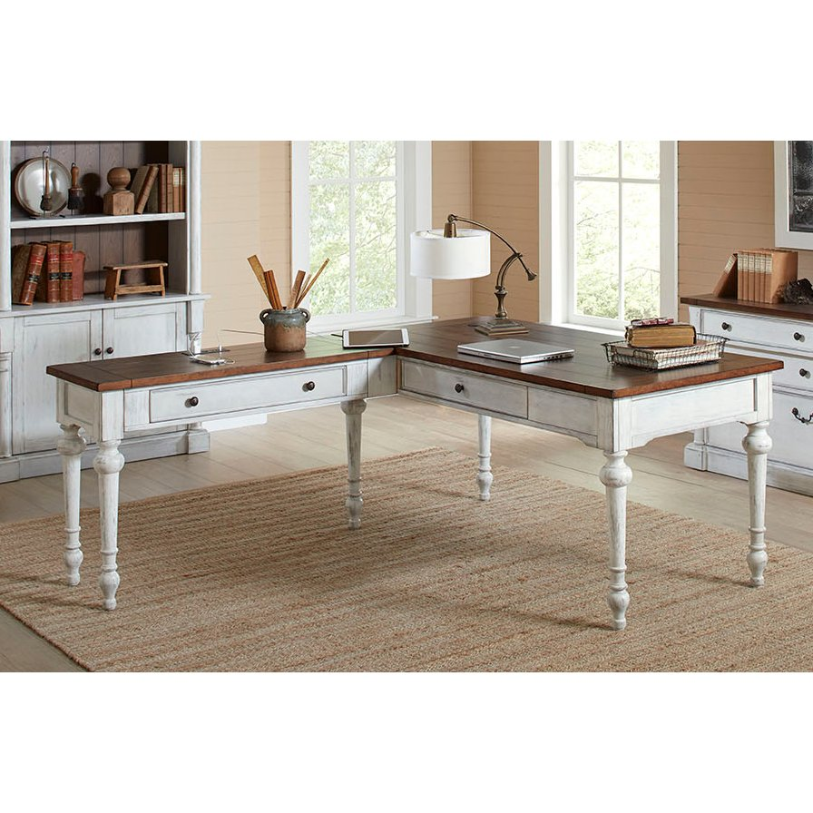 White desk office Sleek Cherry Brown And White Shaped Office Desk Durham Rc Willey Shop Desks For Sale And Computer Desks Rc Willey Furniture Store