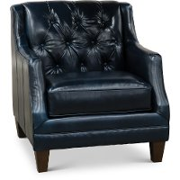 Dark Blue Button Tufted Leather Chair - Buxton
