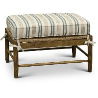 Cream Tan and Blue Striped Occasional Ottoman - Riverbank