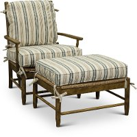 2-Piece Striped Accent Chair and Ottoman - Riverbank
