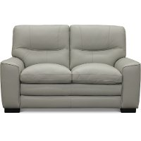 Contemporary Dove Gray Leather Loveseat - Glasgow