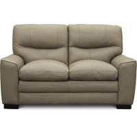 Contemporary Beige Leather Loveseat - Glasgow