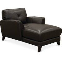 Modern Dark Brown Leather Chaise - Colours