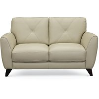 Modern Oyster White Leather Loveseat - Colours