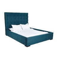 Contemporary Peacock Blue Queen Upholstered Bed - Abby