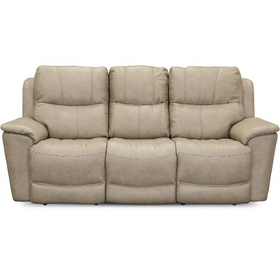 Ice White Leather-Match Power Reclining Sofa - Cade