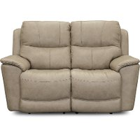 Ice White Leather-Match Power Reclining Loveseat - Cade