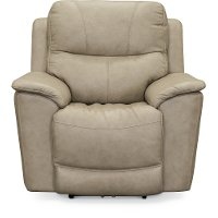 Ice White Leather-Match Power Recliner - Cade