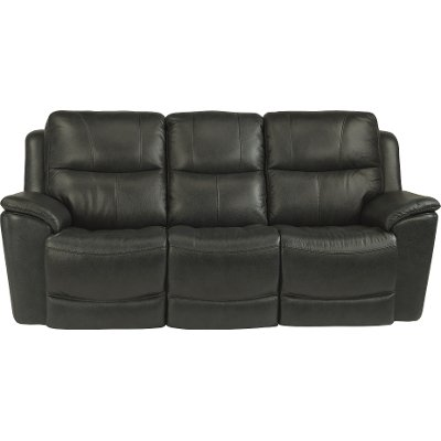Dark Gray-Blue Leather-Match Power Reclining Sofa - Cade