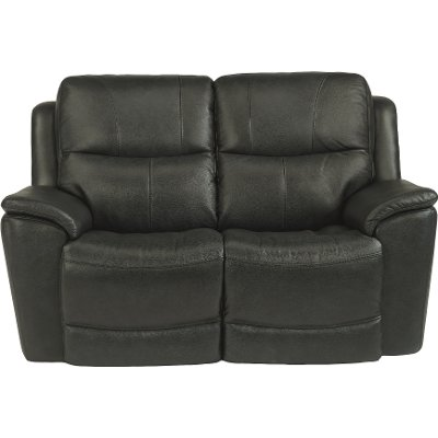 Dark Gray-Blue Leather-Match Power Reclining Loveseat - Cade