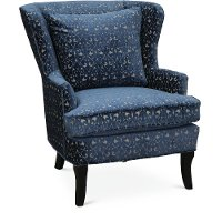 Blue and Cream Wing Back Chair - Reader