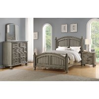Casual Classic Gray 4 Piece King Bedroom Set - Barnwell