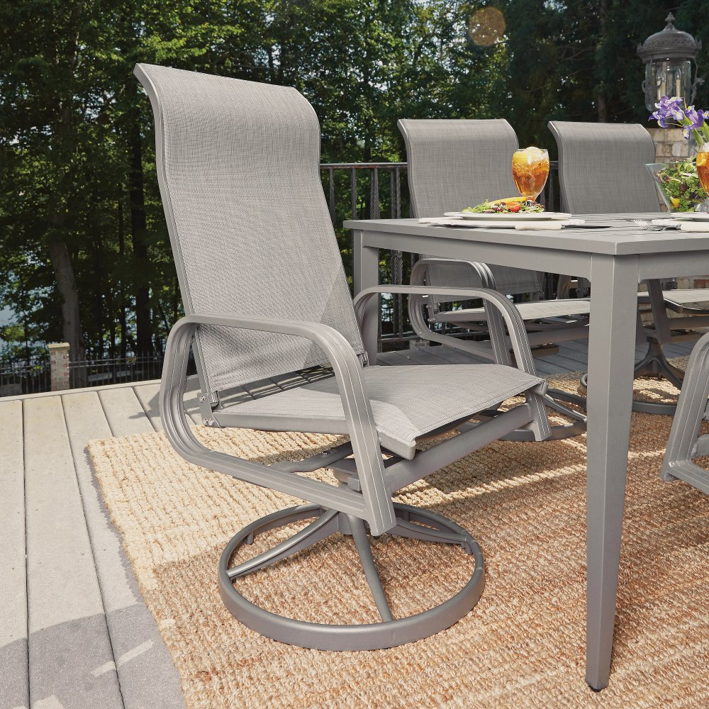 Gray Sling Swivel Outdoor Patio Rocking Chair   Daytona | RC Willey  Furniture Store