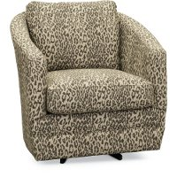 Cream and Gray Steel Cat Swivel Accent Chair