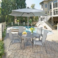 7 Piece Round Outdoor Patio Dining Set- Daytona