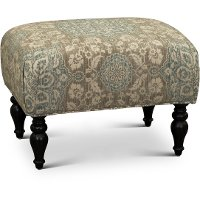 Classic English Cream and Blue Floral Ottoman - Gotham