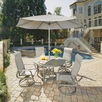 7 Piece Round Outdoor Patio Dining Set - Daytona