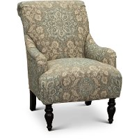 Classic English Cream and Blue Floral Accent Chair - Gotham