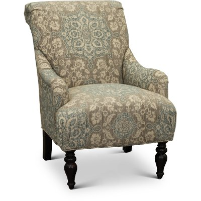 Classic English Cream And Blue Floral Accent Chair   Gotham ...