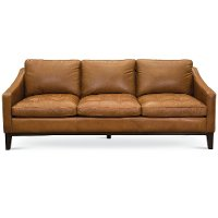 Mid-Century Modern Chestnut Brown Leather Sofa - Monza