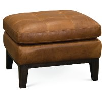 Mid Century Modern Chestnut Brown Leather Ottoman - Monza