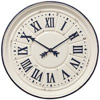 White and Navy Blue Painted Metal Indigo Wall Clock