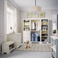 Classic White 5 Piece Closet Organizer with 36 Inch Storage Island - Naples