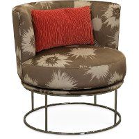 Modern Contemporary Hibiscus Brown Swivel Chair - Lorimer
