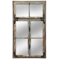 Distressed Window Pane Wall Mirror