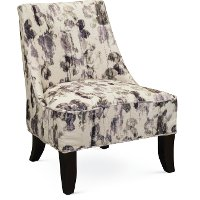 Armless Cream and Plum Accent Chair - Diana