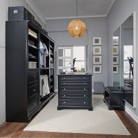 Classic Black-5 Piece Closet Organizer with 36 Inch Storage Island - Bedford